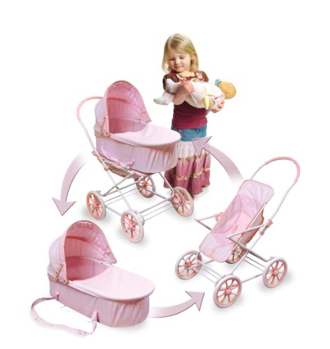 In 1 doll pram carrier and stroller pink white made by badger basket