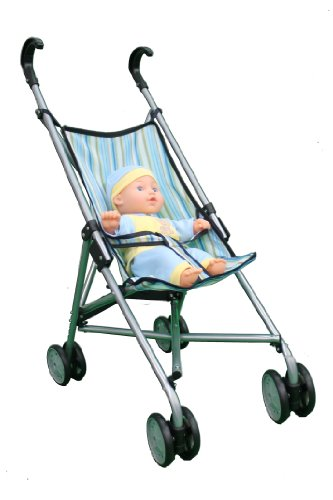 Mommy And Me Blue Striped Umbrella Doll Toy Baby Strollers