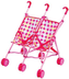 doll double stroller umbrella built contoured