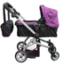 babyboo deluxe doll pram purple black